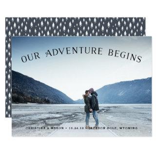 Vårt äventyr börjar | fotospara datera 12,7 x 17,8 cm inbjudningskort
