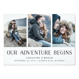 Vårt äventyr börjar | mång- fotospara datera 12,7 x 17,8 cm inbjudningskort
