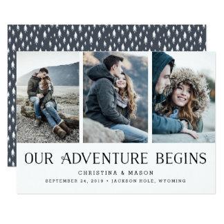 Vårt äventyr börjar | tre fotospara datera 12,7 x 17,8 cm inbjudningskort