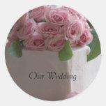 Vårt bröllop, bröllopstårtaklistermärke rund klistermärke