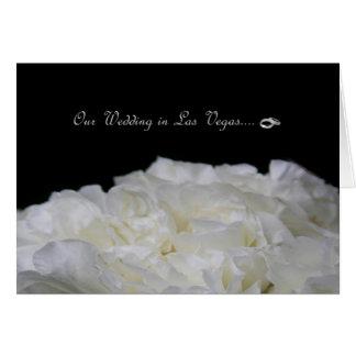 Vårt bröllop i Las Vegas RINGAR - vit roskort Hälsningskort