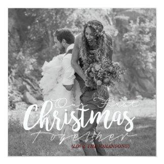 Vårt första för jul moderna fotokort tillsammans | fyrkantigt 13,3 cm inbjudningskort
