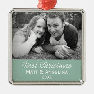 Vårt första julfoto - bröllop eller förlovning julgransprydnad metall