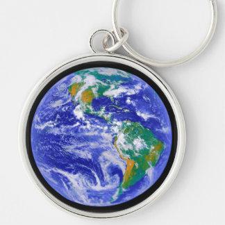 Vårt hem - jorden Keychain Rund Silverfärgad Nyckelring
