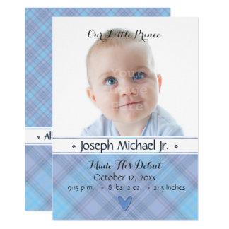 Vårt lite födelsemeddelande för Prince pojke 12,7 X 17,8 Cm Inbjudningskort