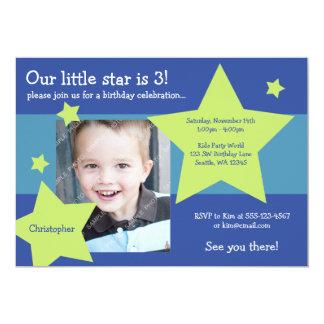 Vårt lite foto för födelsedag för stjärnablått- 12,7 x 17,8 cm inbjudningskort