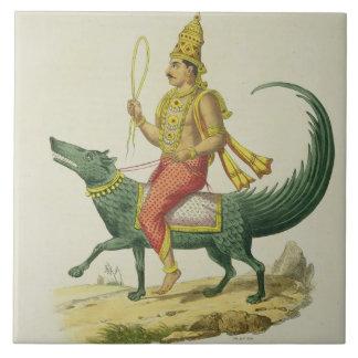 Varuna gud av haven som inristas av Charles Eti Kakelplatta