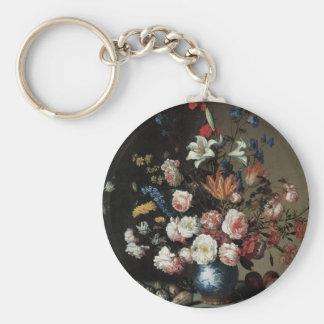Vas av blommor vid ett fönster, Balthasar skåpbil Rund Nyckelring