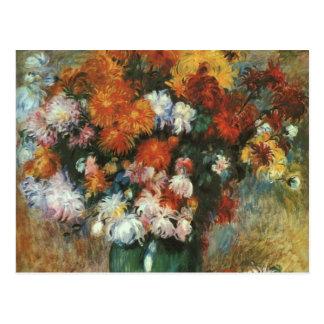 Vas av Chrysanthemums av Pierre Renoir Vykort