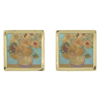 Vas med 12 solrosor av Vincent Van Gogh Guldpläterade Manschetterknappar