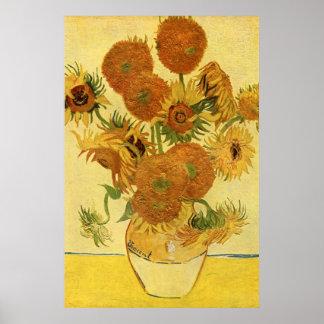 Vas med femton solrosor, Van Gogh konst Poster