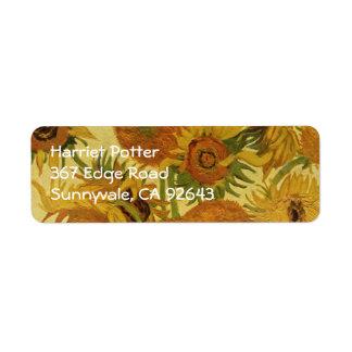 Vas med femton solrosor, Van Gogh konst Returadress Etikett