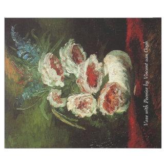 Vas med pioner av Van Gogh. Vintageblommigtolja Presentpapper