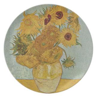 Vas med tolv solrosor av Vincent Van Gogh Tallrik