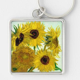 Vas med tolv solrosor, Van Gogh konst Fyrkantig Silverfärgad Nyckelring