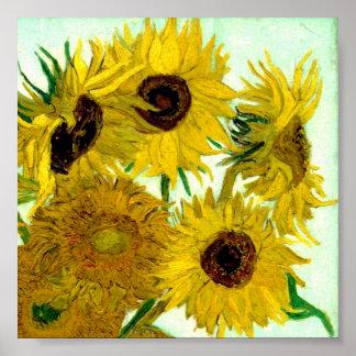 Vas med tolv solrosor, Van Gogh konst Poster