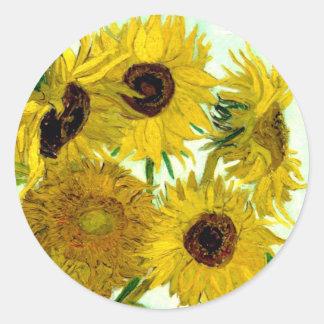 Vas med tolv solrosor, Van Gogh konst Runt Klistermärke