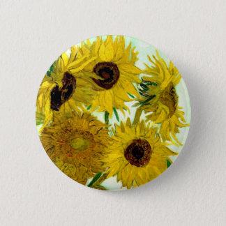 Vas med tolv solrosor, Van Gogh konst Standard Knapp Rund 5.7 Cm