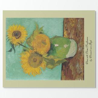 Vas med tre solrosor av Vincent Van Gogh. Presentpapper
