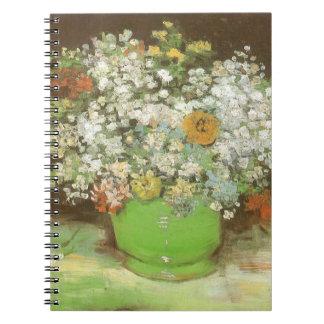 Vas med Zinnias och blommor av Vincent Van Gogh Anteckningsbok Med Spiral