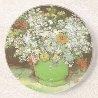 Vas med Zinnias och blommor av Vincent Van Gogh Underlägg Sandsten