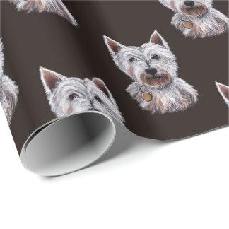 Västra höglands- mönstrad Terrierhundillustration Presentpapper
