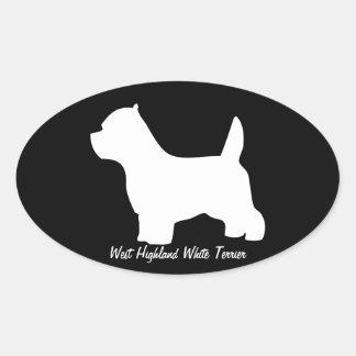 Västra höglands- vitterrierhund, westiesilhouette ovalt klistermärke