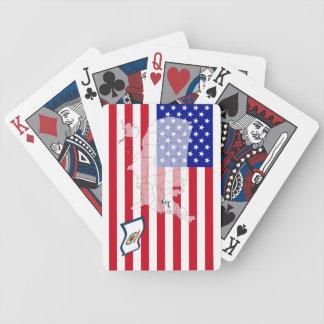 Västra Virginia-USA statlig flaggakarta som leker  Spelkort