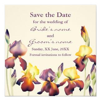 Vatten-färg Irises Fyrkantigt 13,3 Cm Inbjudningskort