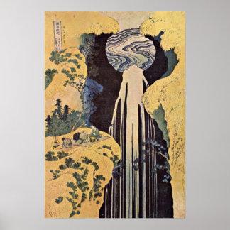 Vattenfallet av Amida av Katsushika Hokusai Poster