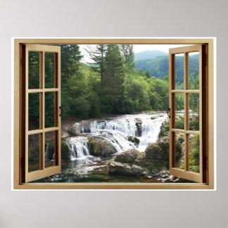 Vattenfallflod för öppet fönster poster
