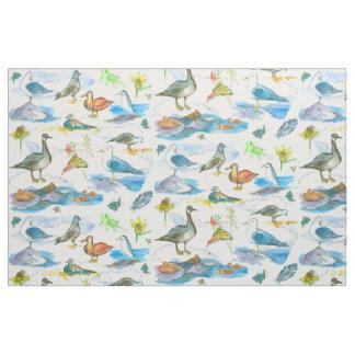 Vattenfärg ankor för fåglar för sjökust tyg