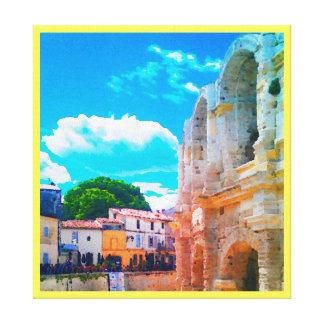 Watercolor of Roman Coliseum in Arles, France.