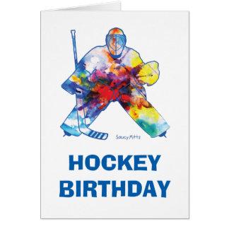 Vattenfärg för grattis på födelsedagenhockeyGoalie Hälsningskort