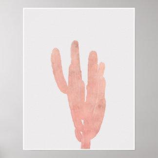Vattenfärg för rosaökenkaktus poster