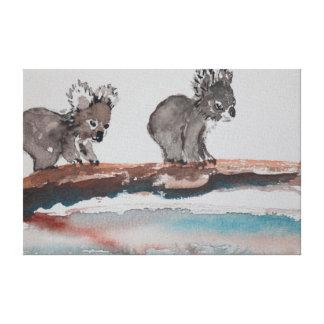 Vattenfärg för två Koala Canvastryck