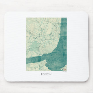 Vattenfärg för vintage för Lisbon kartablått Musmatta