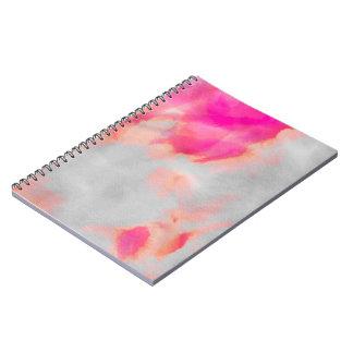 Vattenfärg tvättar rosor anteckningsbok med spiral