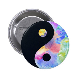 Vattenfärg Yin Yang knäppas Standard Knapp Rund 5.7 Cm