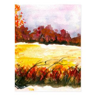 Vattenfärgabstrakt landskap konsthöstträd vykort