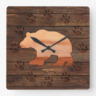 Vattenfärgbjörnen, sned tassar, den lantliga fyrkantig klocka