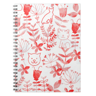 Vattenfärgblommigt & katter anteckningsbok med spiral