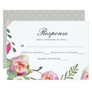 Vattenfärgblommigten och pricker bröllop OSAkortet 8,9 X 12,7 Cm Inbjudningskort