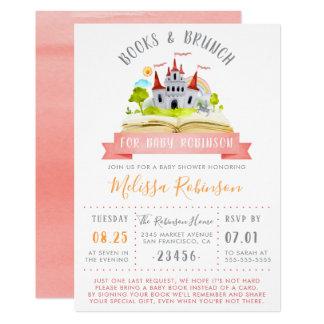 Vattenfärgbokar & röd unisex- baby shower för 12,7 x 17,8 cm inbjudningskort