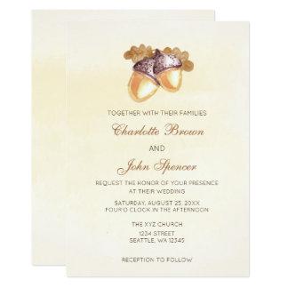 vattenfärgekollonoaken lämnar nedgångbröllop 12,7 x 17,8 cm inbjudningskort