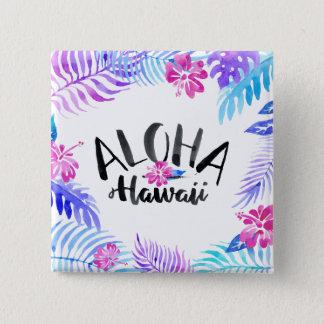 Vattenfärgen Aloha Hawaii tropisk   klämmer fast Standard Kanpp Fyrkantig 5.1 Cm