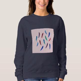 Vattenfärgen befjädrar kvinna grundläggande tröja