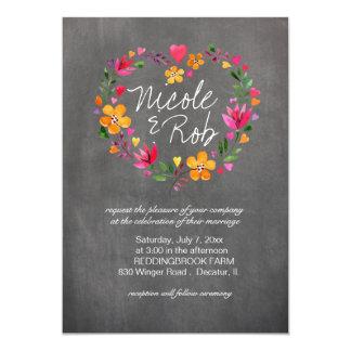Vattenfärgen blommar hjärtakranen som gifta sig | 12,7 x 17,8 cm inbjudningskort