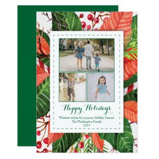 Vattenfärgen lämnar fotokortet för jul tre (3) 12,7 x 17,8 cm inbjudningskort