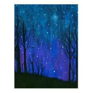 Vattenfärgen landskap universum för stjärnor för vykort